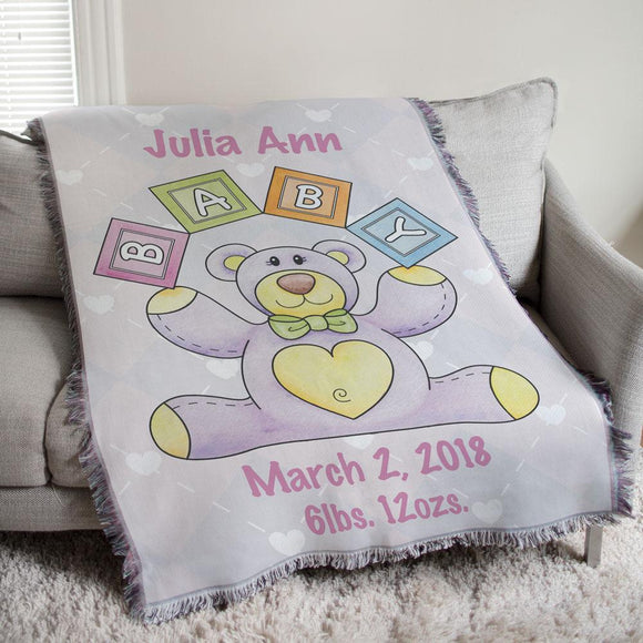 Personalized Baby Girl Teddy Bear Tapestry Throw-Personalized Gifts