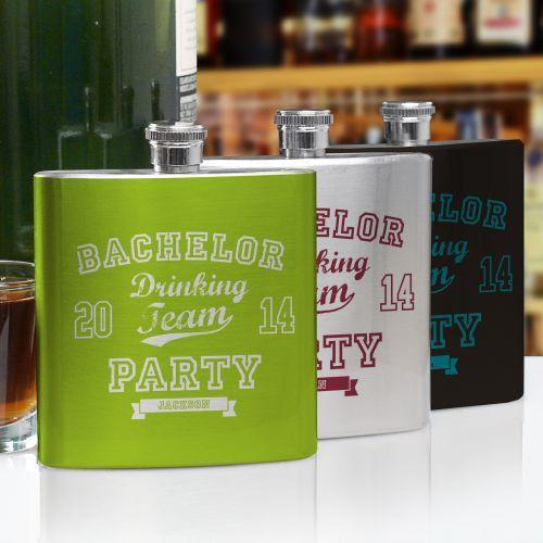 Personalized Bachelor Drinking Team Flask-Personalized Gifts