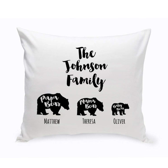 Personalized Bear Family Throw Pillow-Personalized Gifts