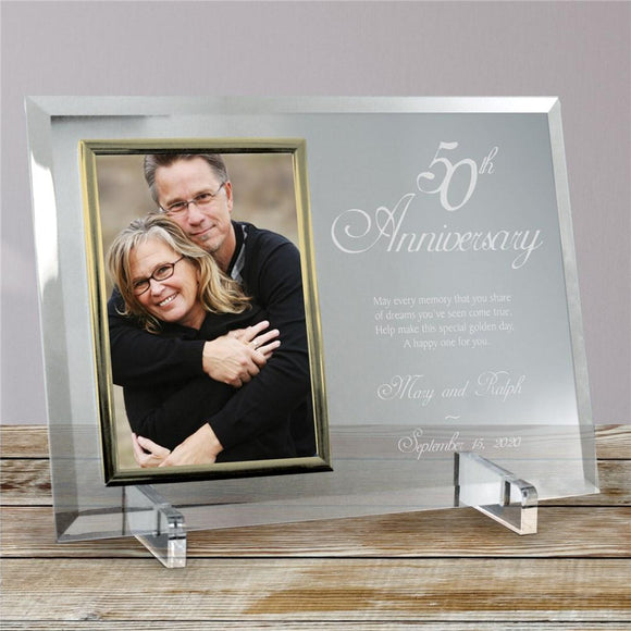 Personalized Beveled Glass 50th Anniversary Picture Frame-Personalized Gifts