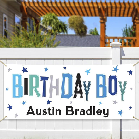Personalized Birthday Boy Banner-Personalized Gifts