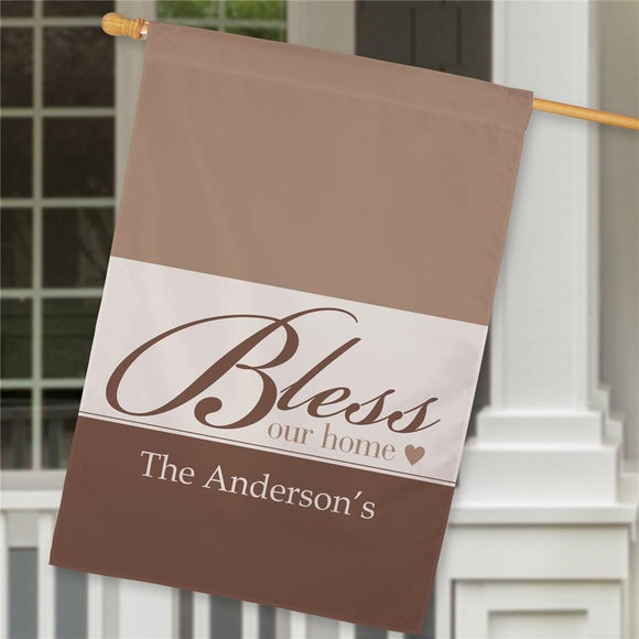 Personalized Bless Our Home House Flag-Personalized Gifts