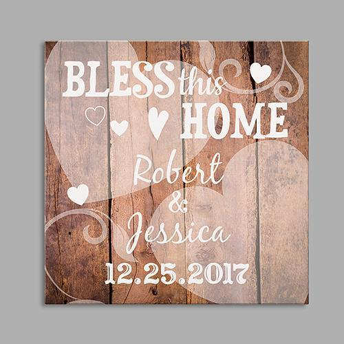 Personalized Bless This Home Wedding Square Canvas-Personalized Gifts