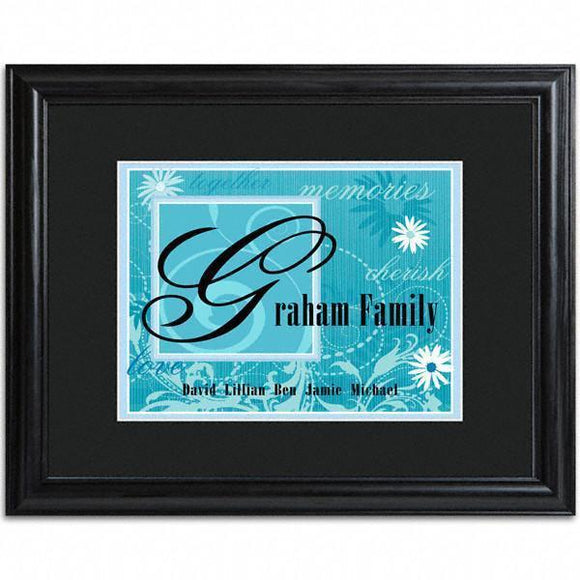 Personalized Blue Family Name Frame-Personalized Gifts