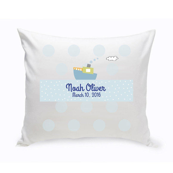 Personalized Boys Boat Baby Nursery Throw Pillow-Personalized Gifts