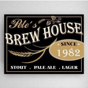 Personalized Brew House Canvas Sign-Personalized Gifts