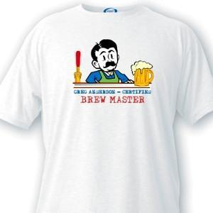 Personalized Brewmaster Guys White T-Shirts-Personalized Gifts