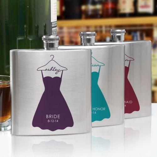 Personalized Bridal Party Dress Flask-Personalized Gifts