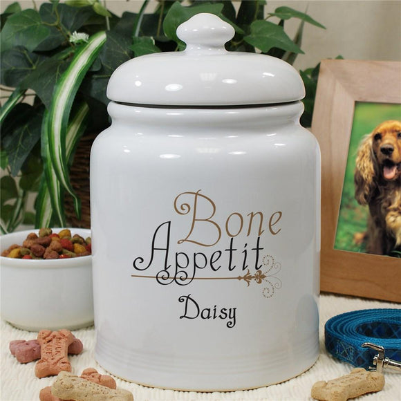 Personalized Ceramic Bone Appetit Treat Jar-Personalized Gifts