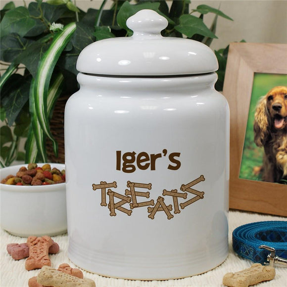 Personalized Ceramic Dog Bone Treat Jar-Personalized Gifts
