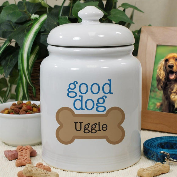 Personalized Ceramic Good Dog Treat Jar-Personalized Gifts
