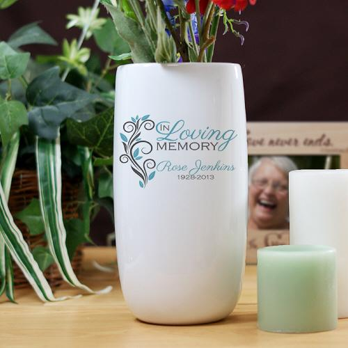 Personalized Ceramic In Loving Memory Flower Vase-Personalized Gifts