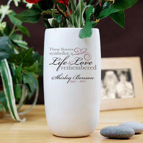 Personalized Ceramic Life and Love Memorial Flower Vase-Personalized Gifts