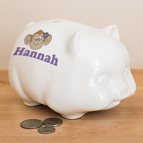 Personalized Ceramic Monkey Piggy Bank-Personalized Gifts