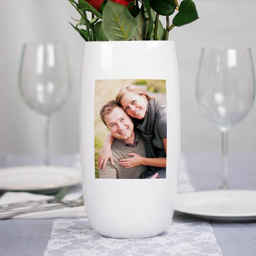 Personalized Ceramic Photo Centerpiece Vase-Personalized Gifts