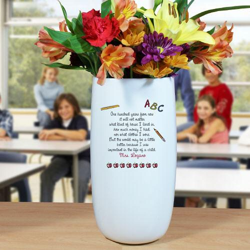Personalized Ceramic Teacher Vase-Personalized Gifts