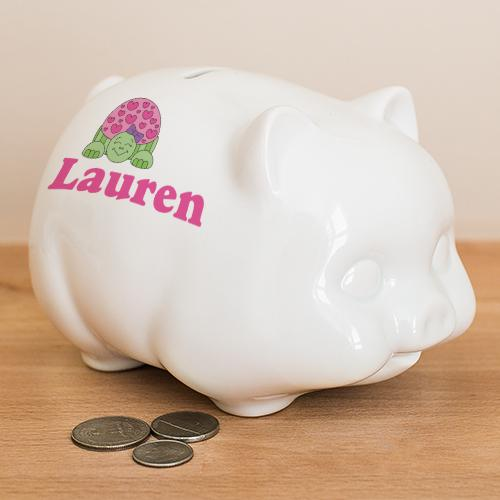 Personalized Ceramic Turtle Piggy Bank-Personalized Gifts