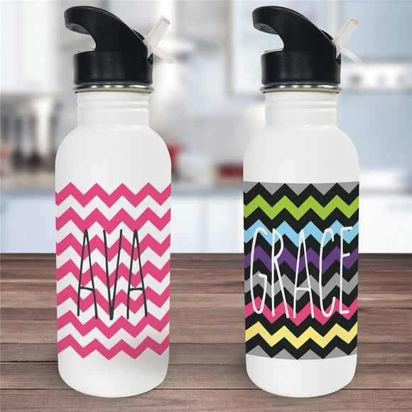 Personalized Chevron Water Bottle-Personalized Gifts