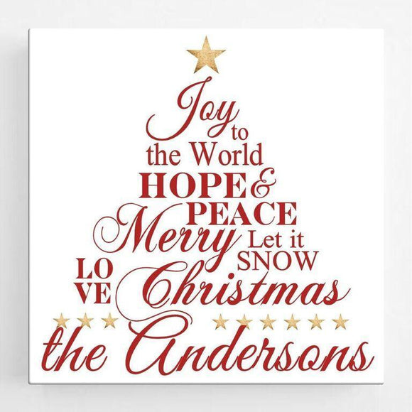 Personalized Christmas Canvas Sign - Joy to the World-Personalized Gifts