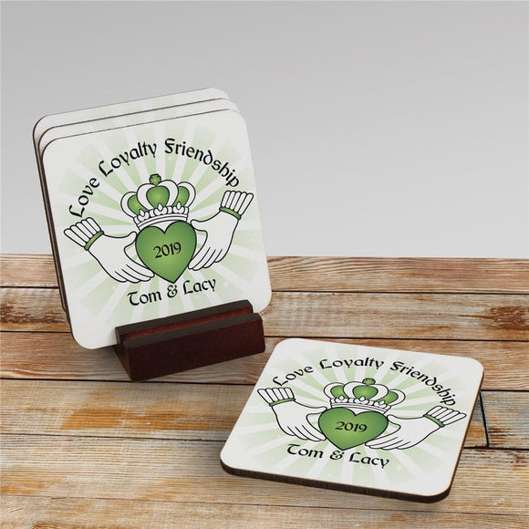 Personalized Claddaugh Coaster Set-Personalized Gifts