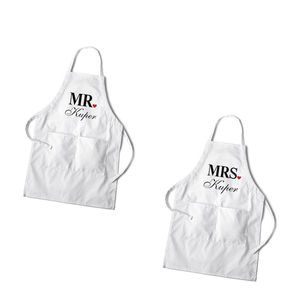 Personalized Couples White Apron Set-Personalized Gifts
