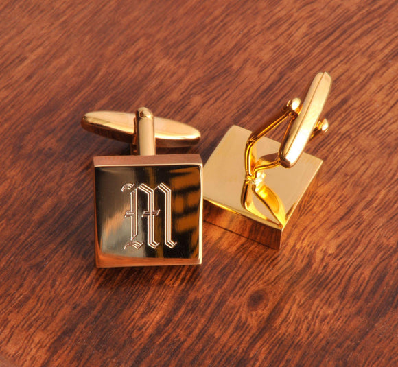 Personalized Cufflinks - Brass - High Polish - Monogram-Personalized Gifts