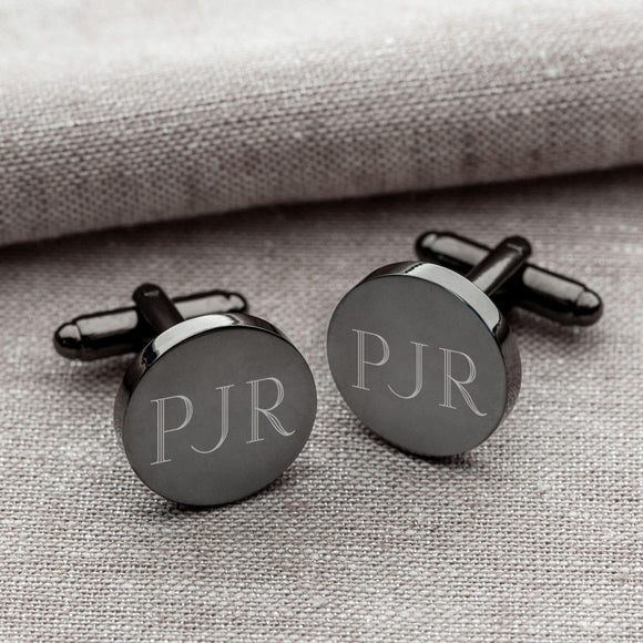 Personalized Cufflinks - Gunmetal - Round - Groomsmen Gifts-Personalized Gifts