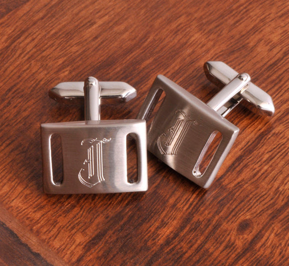 Personalized Cufflinks - Marlon - Brushed Silver - Groomsmen Gifts-Personalized Gifts
