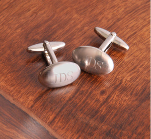 Personalized Cufflinks - Oval Brushed-Personalized Gifts