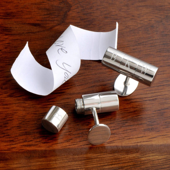 Personalized Cufflinks - Secret Agent - Hidden Note - Monogram-Personalized Gifts