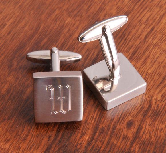 Personalized Cufflinks - Silver - Square - Monogram - Groomsmen Gifts-Personalized Gifts