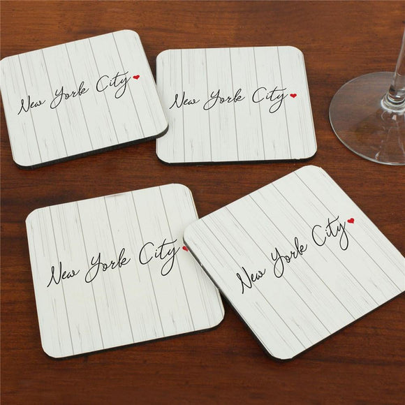 Personalized Custom Message On Wood Background Coasters-Personalized Gifts