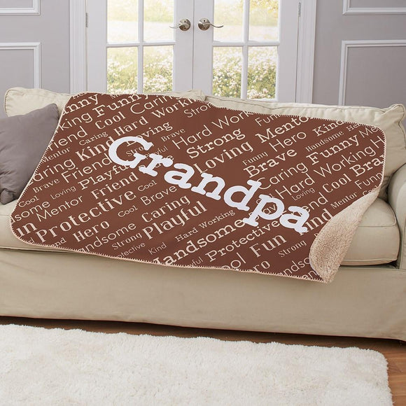 Personalized Dad Word Art Sherpa Blanket-Personalized Gifts