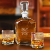 Personalized Decanter Set with 2 Low ball Glasses-Personalized Gifts