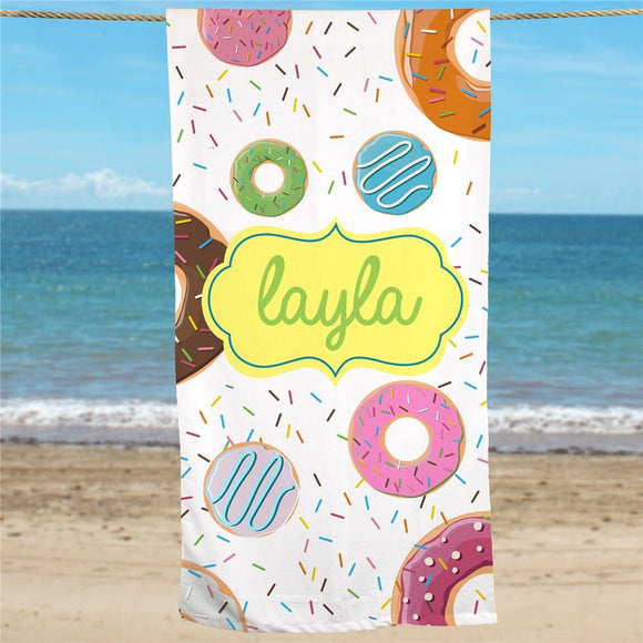Personalized Donuts Beach Towel-Personalized Gifts