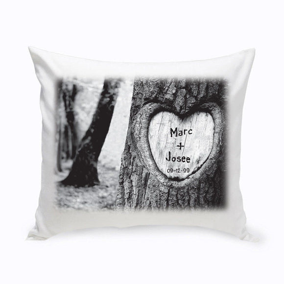 Personalized Everlasting Love Tree Carving Throw Pillow-Personalized Gifts