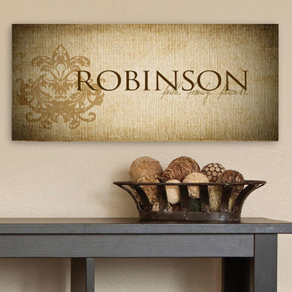 Personalized Faith & Family Canvas Sign-Personalized Gifts