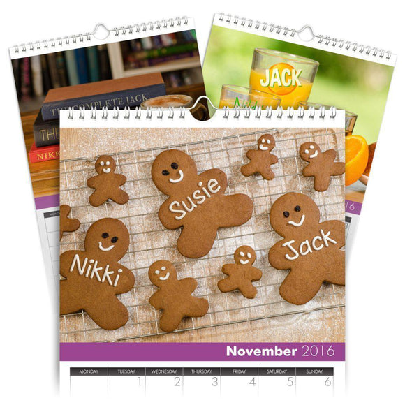 Personalized Family Calendar for 3 Names-Personalized Gifts