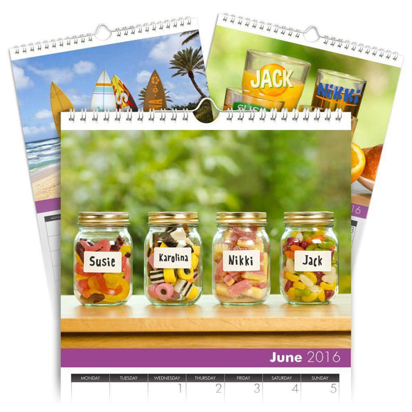 Personalized Family Calendar for 4 Names-Personalized Gifts