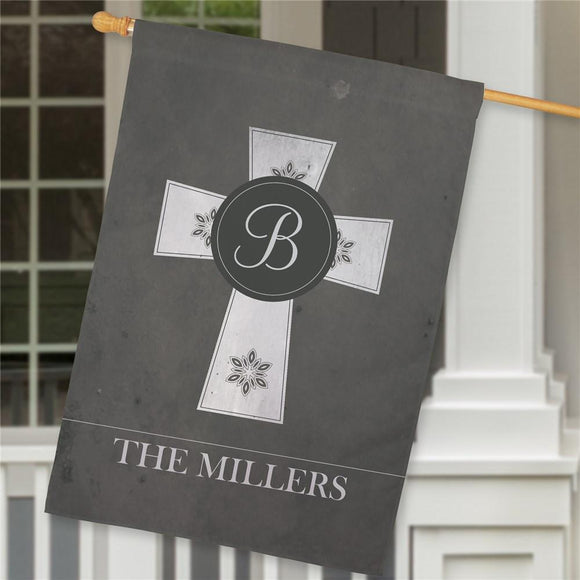 Personalized Family Cross House Flag-Personalized Gifts