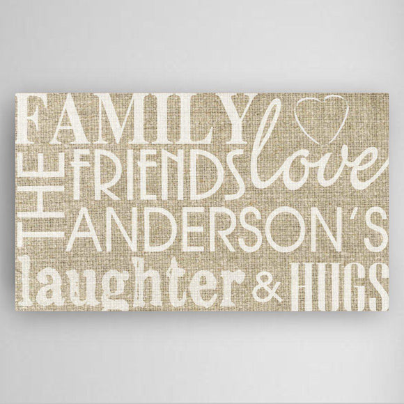 Personalized Family & Friends Canvas Print - Burlap Design-Personalized Gifts