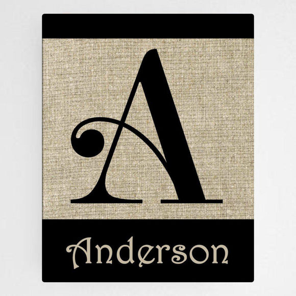 Personalized Family Initial Canvas Sign-Personalized Gifts