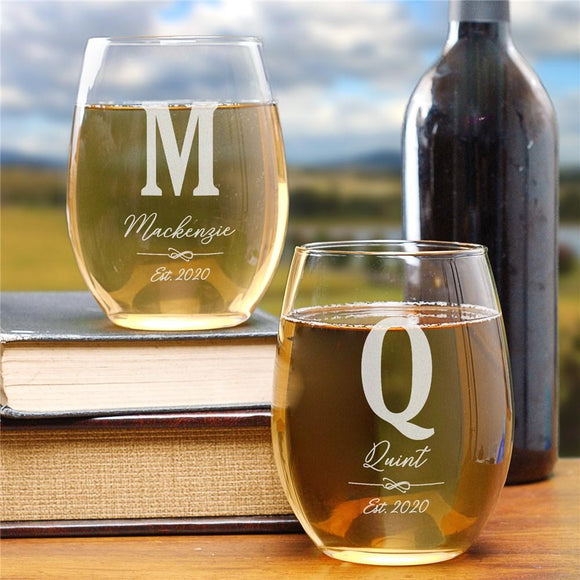 Personalized Family Initial Stemless Wine Glass-Personalized Gifts