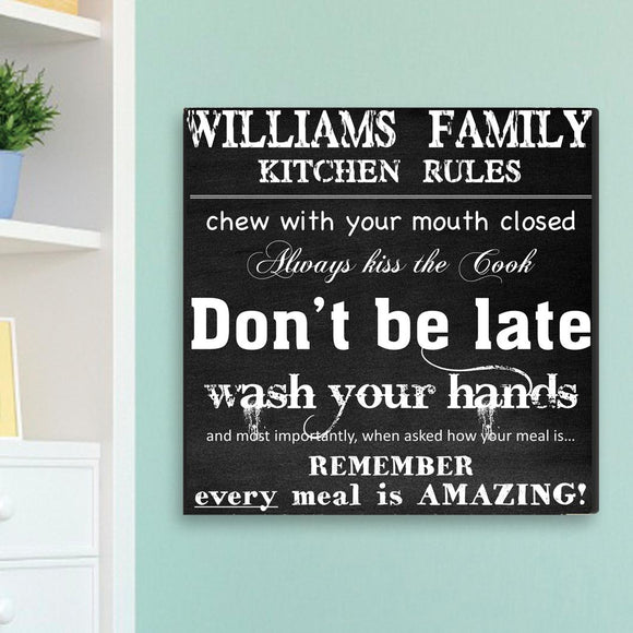 Personalized Family Kitchen Rules Canvas Sign-Personalized Gifts