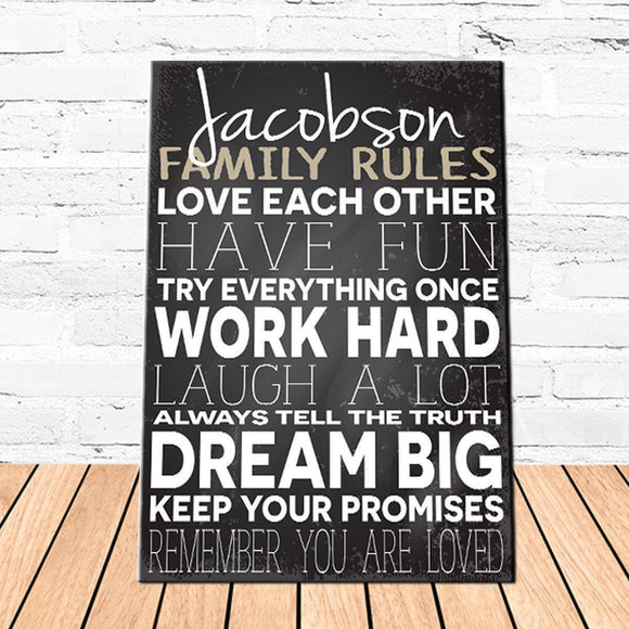 Personalized Family Love Rules Canvas Sign-Personalized Gifts