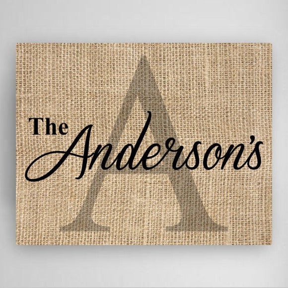 Personalized Family Name & Initial Canvas Sign-Personalized Gifts