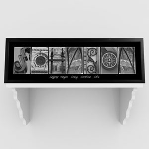 Personalized Family Name Signs - Architectural Alphabet - Black and White - Urban-Personalized Gifts