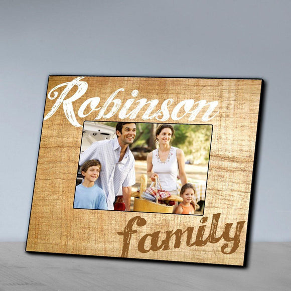 Personalized Family Wood Grain Picture Frame-Personalized Gifts