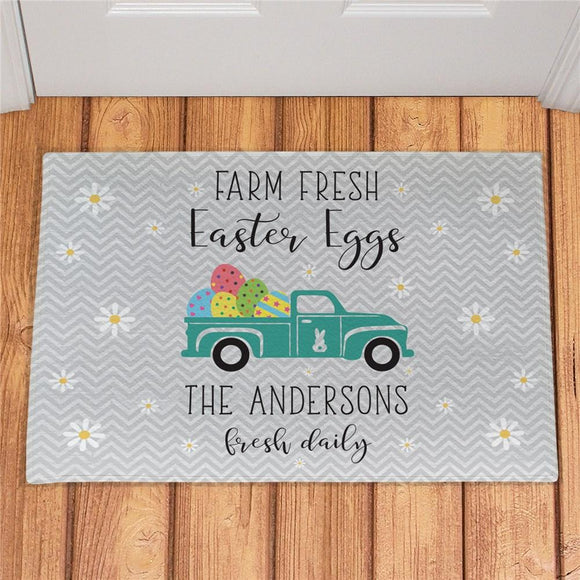 Personalized Farm Fresh Easter Eggs Doormat-Personalized Gifts