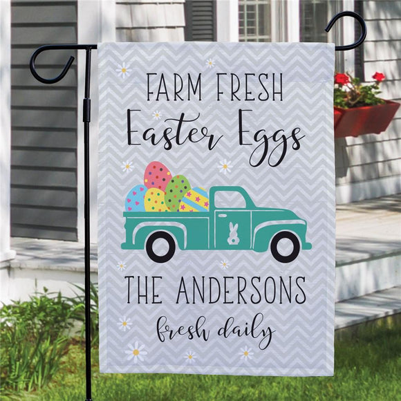 Personalized Farm Fresh Easter Eggs Garden Flag-Personalized Gifts